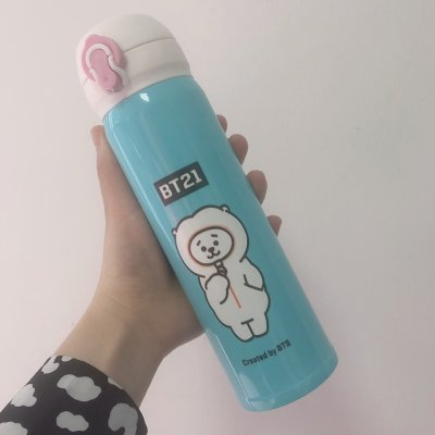 Cute Bts Series Cartoon Printing Stainless Steel Vacuum Thermal Cup for Fans Student Lamb (Style 2)