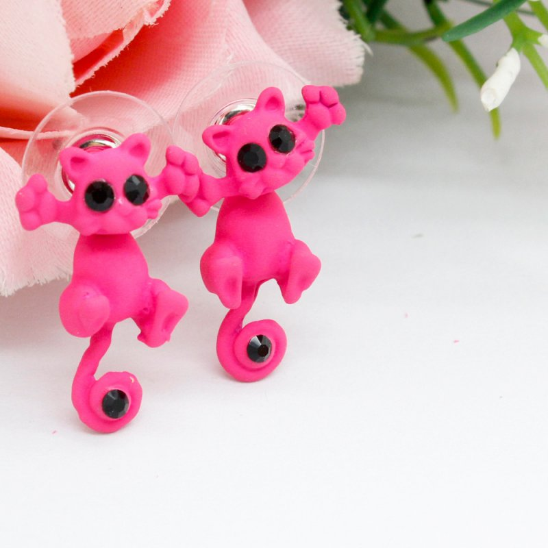 Cute Cartoon 3D Cat Shape Animal Earrings Three-dimensional Ear Stud