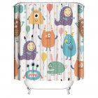 Cute Cartoon Animal Print Polyester Waterproof Shower Curtains for Bathroom Alien_180*180cm