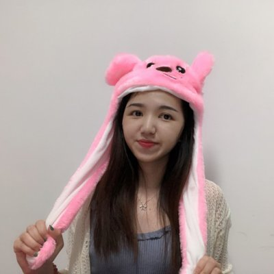 Cute Cartoon Figure Funny Girl Women Hat with Moving Ears for Summer None
