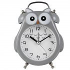 Cute Cartoon Owl Sahpe Metal Mute Movement Alarm Clock with Night Light gray