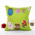 Cute Cartoon Pattern Printing Linen Pillow Cover for Easter Home Decor