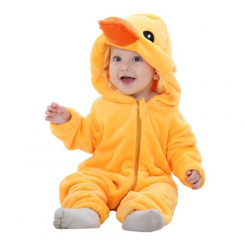 Cute Cartoon Shape Flannel Hooded Romper for Infant Baby Girl Boy  duck_0-3M