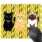 Cute Cartoon Three Cats Mouse Pad Rectangle Ultra Thin Mouse Pad with Non-slip Base