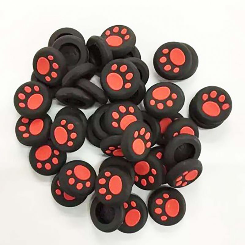 Cute Cat Claw ThumbStick Silicone Button Grip Cap Case for Nintend Switch SONY PS4 Controller  red
