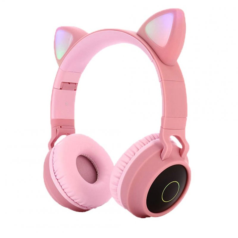 Cute Cat Ear Bluetooth 5.0 Headphones Foldable On-Ear Stereo Wireless Headset with Mic LED Light Support FM Radio/TF Card/Aux in for Smartphones PC Tablet  Pink