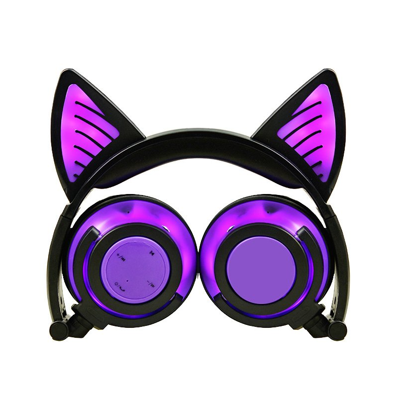 Cute Cat Ear Rechargeable Gaming Headset with LED Lights Colorful Over Ear Foldable Headphones with Mic for Cell Phone  purple