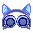 Cute Cat Ear Rechargeable Gaming Headset with LED Lights Colorful Over Ear Foldable Headphones with Mic for Cell Phone  white