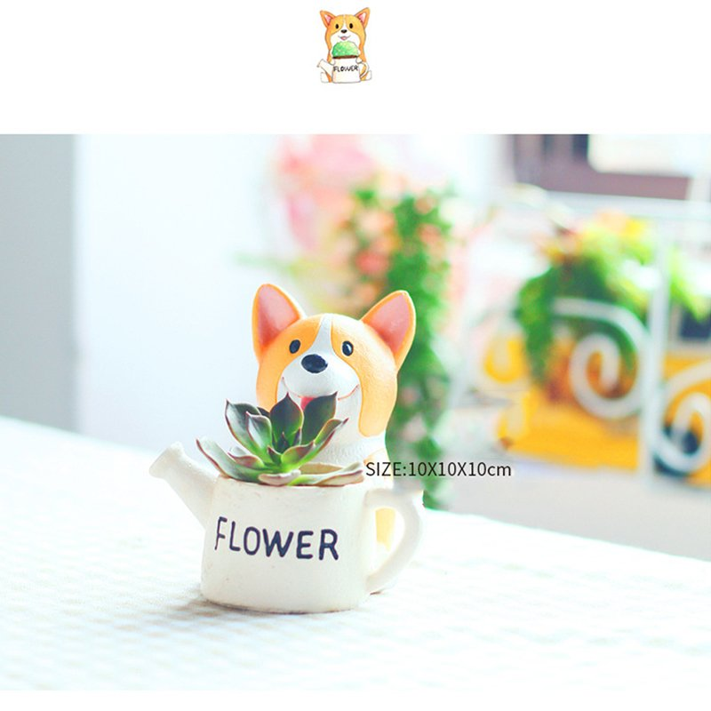 Cute Corgi Dog Shaped Succulent Plant Container Cartoon Flowerpot as Decor 14.5 * 8 * 10cm
