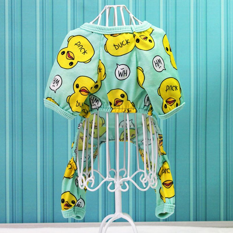 Cute Creative Duck Printing Pet Velvet Pajamas Coat Warm Nightwear Clothes for Dogs Cats L