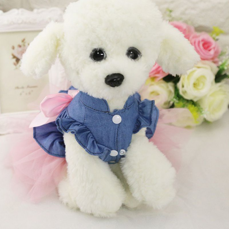 Cute Denim Princess Dress with Bowknot for Pet Cat Dog Spring Summer Wear S