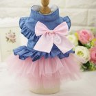 Cute Denim Princess Dress with Bowknot for Pet Cat Dog Spring Summer Wear XS