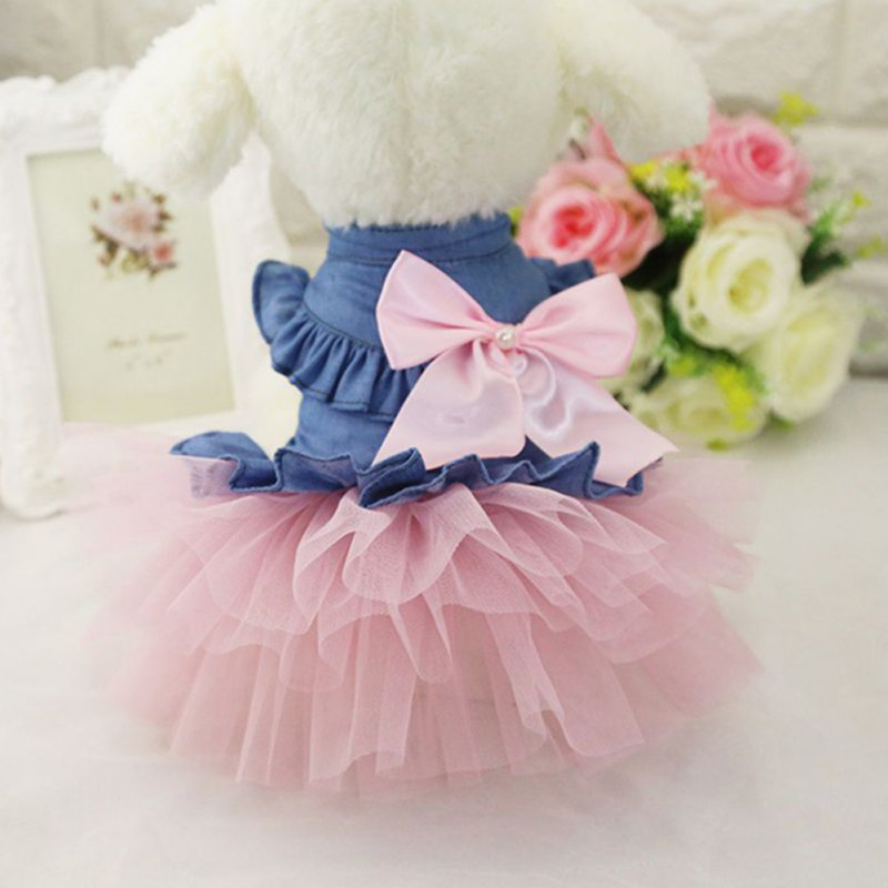 Cute Denim Princess Dress with Bowknot for Pet Cat Dog Spring Summer Wear XL