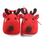 Cute Elk Design Baby Ultra Soft Sole Fleece Shoes as Christmas Gift for Autumn Winter   Red 10 2CM