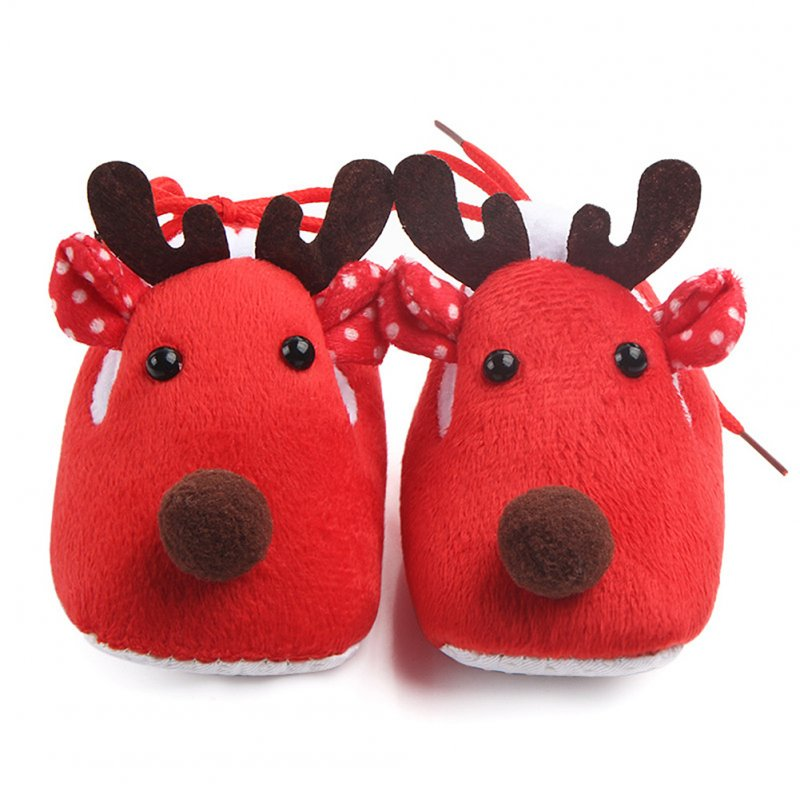 Cute Elk Design Baby Shoes -Red 10.2CM
