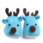 Cute Elk Design Baby Ultra Soft Sole Fleece Shoes as Christmas Gift for Autumn Winter blue 10 5CM