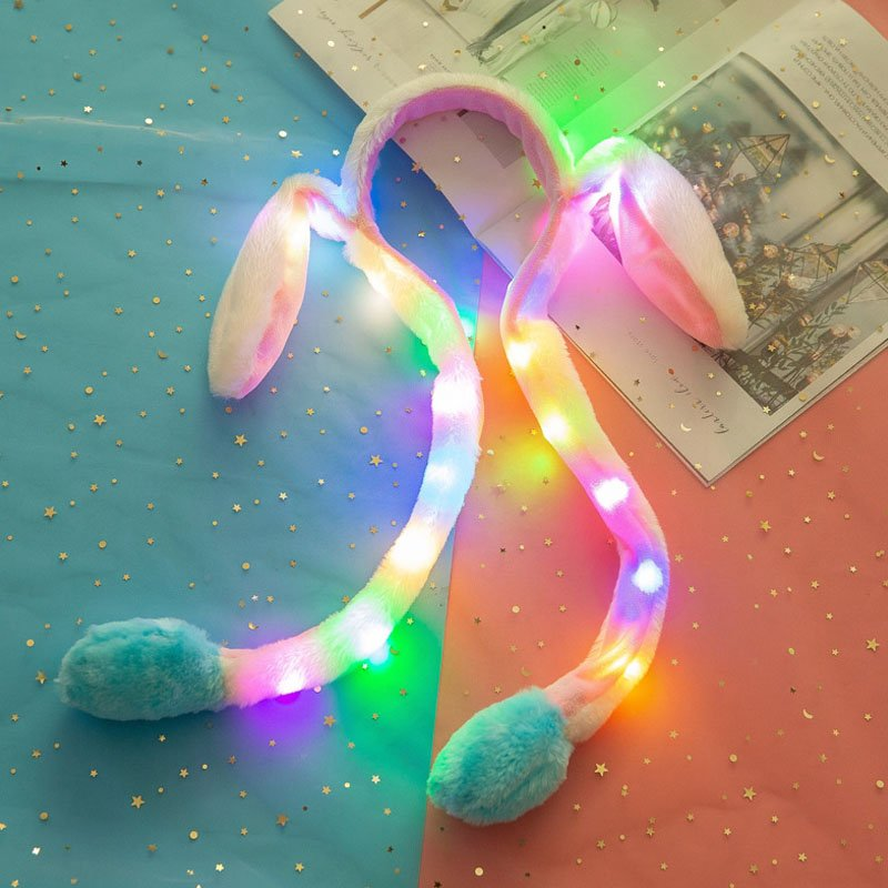 Cute Funny Girl Women Rabbit Ear Hairpin with Moving Ears for Summer 3 with light blue paws