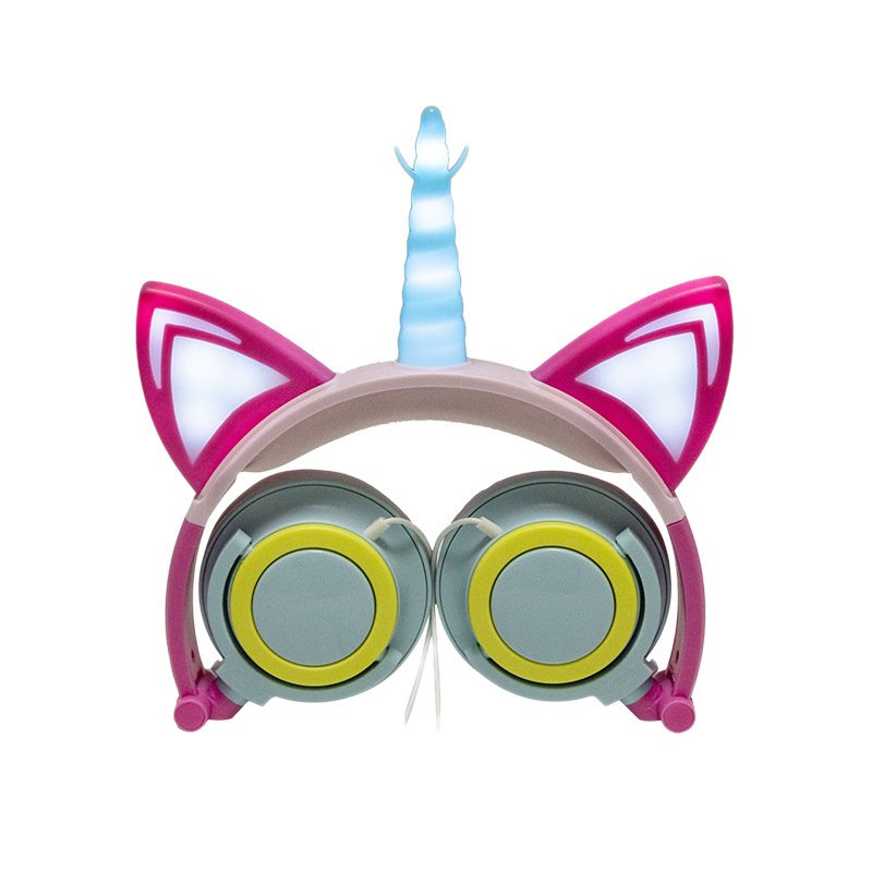 Cute Kids Cat Ear Headphones Wired Adjustable for Boys Girls Tablet Kids Headband Earphone Foldable Over On Ear Game Headset  Blue pink