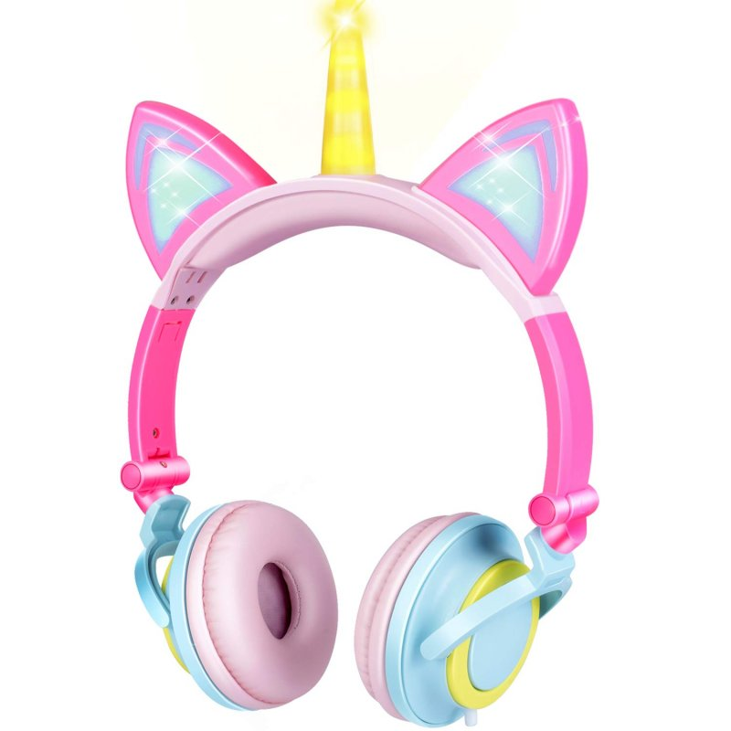 Cute Kids Cat Ear Headphones Wired Adjustable for Boys Girls Tablet Kids Headband Earphone Foldable Over On Ear Game Headset  Yellow pink