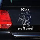 Cute Kids On Board Cartoon Warning Car Sticker Window Decoration Vinyl Decal White