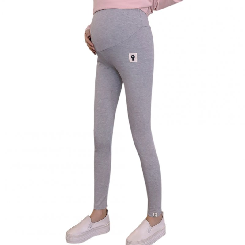 Cute Kitten Pattern Abdomen Support Leggings Trousers for Pregnant Woman  Light gray_M