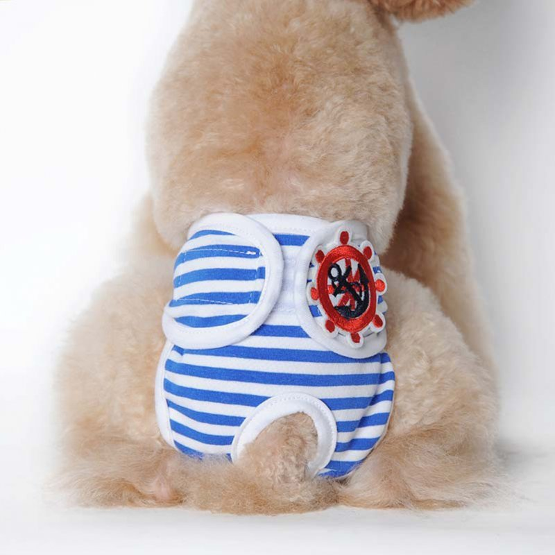 Cute Pet Dog Physiological Pants Sanitary Pants for Female Dog Underwear  Blue and white stripe_M