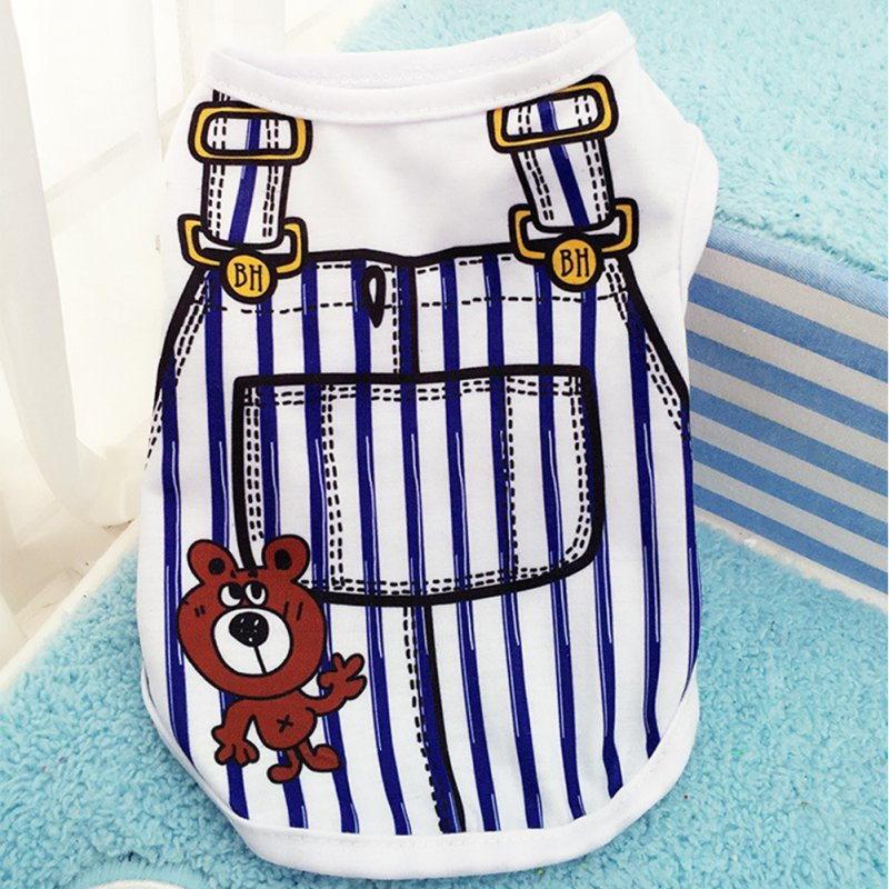Cute Pet Vest Dog Cat Apparel Clothes with Overalls Design for Spring & Summer 5 Sizes for Choice Dark blue_XL