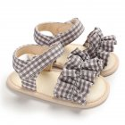 Cute Plaid Soft Rubber Sole Princess Sandals for Baby Infant Girls gray_Inside length 11 cm