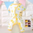 Cute Printing Cotton Pet Dog Four Feets Coat Pajamas yellow_XL