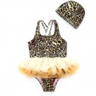 Cute Printing Mesh Lace TUTU Dress Shape Swimwear + Swimming Cap Set 6011 leopard + same color hat_110CM