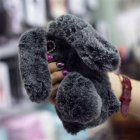 Cute Rabbit Soft Plush Phone Case for iPhone X Dark Gray