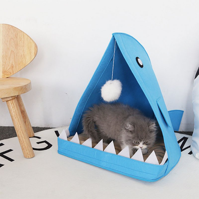 Cute Shark Shape House Removable Washable Dog Bed Comfortable Nest Mat for Pet Supplies