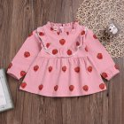 Cute Zippered Girls Dress Long Sleeves and Flouncing Collar Skirt with Strawberry Decorated Pink_100cm