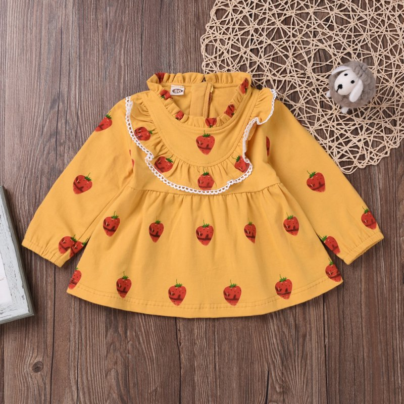 Cute Zippered Girls Dress Long Sleeves and Flouncing Collar Skirt with Strawberry Decorated yellow_80cm