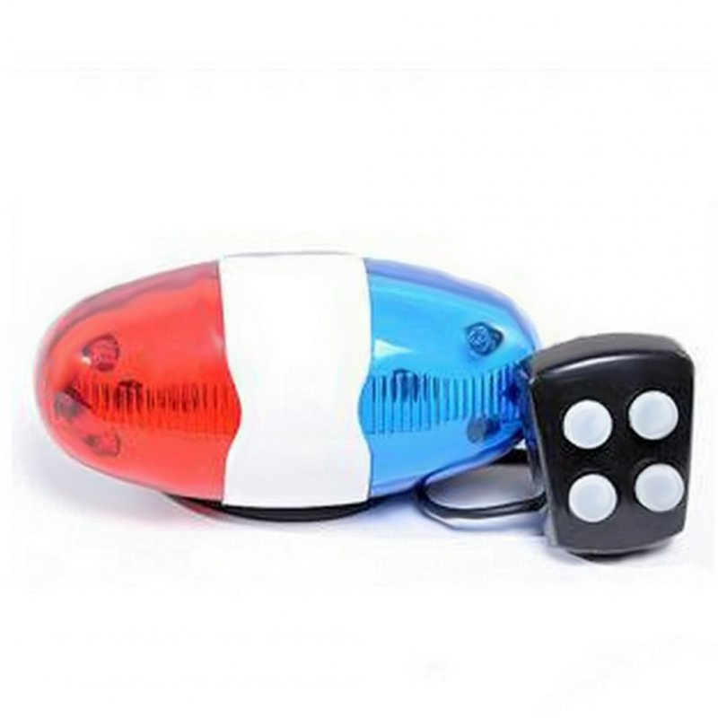 Cycling Bike Bicycle Super Loud LED Warning Light 4 Sounds Electronic Waterproof Horn Bell Siren Blue and white red and white