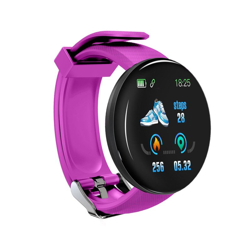 D18 Fitness Watch Smart Bracelet Heart Rate Monitor Blood Pressure Blood Oxygen Measurement Healthy Life Sleep Tracker for iOS Android Phone purple