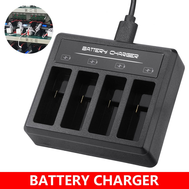 DC 5V 2A Battery 4-Slot Charger Professional Type C Battery Charging Stock Station 70x60x20mm For Gopro5.6.7.8 black