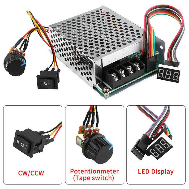 DC10-55V 12V 24V 36V 60A PWM Motor Speed Controller CW CCW Reversible Switch Set PWM motor speed controller (with digital tube)