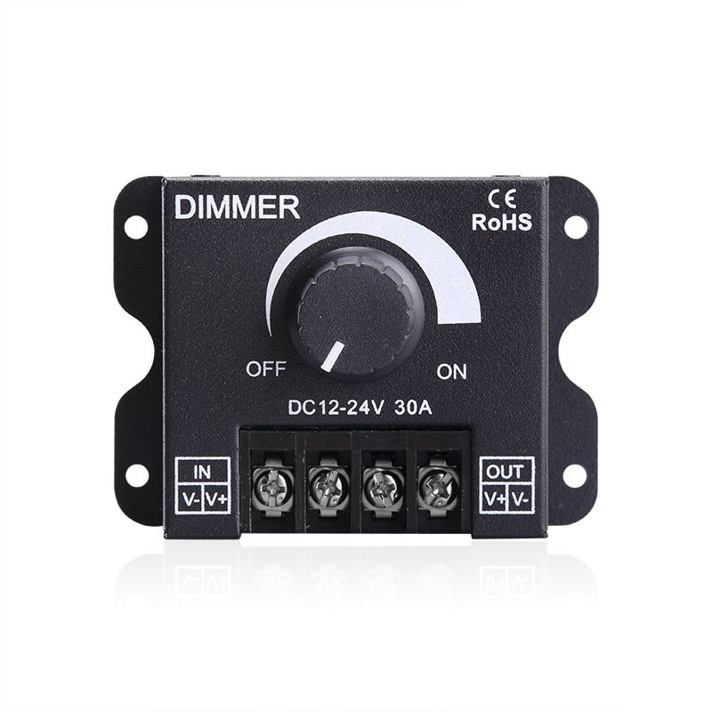 DC12V-24V Adjustable Brightness LED Swtich Manual Dimmer for Single Color LED Strip Light black