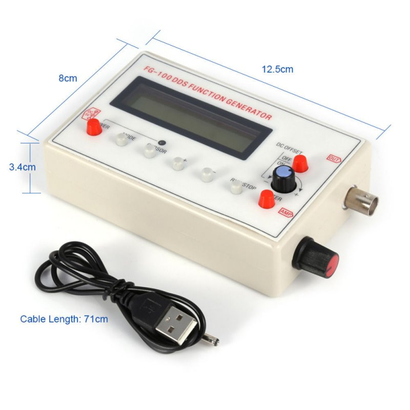 DDS Function Signal Generator Sine+Triangular+Square Wave Frequency 1HZ-500KHz White white