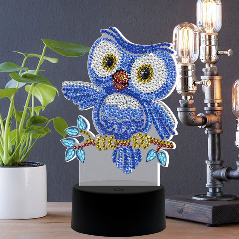 DIY 3D Diamond Painting LED Night Light Cartoon Owl Embroidery Colorful Lamp Home Decoration As shown