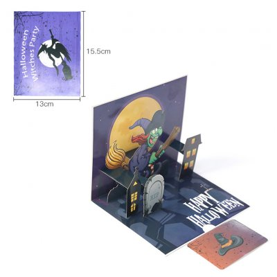DIY 3D Halloween Series Handcraft Greeting Card Kids Toy Witch