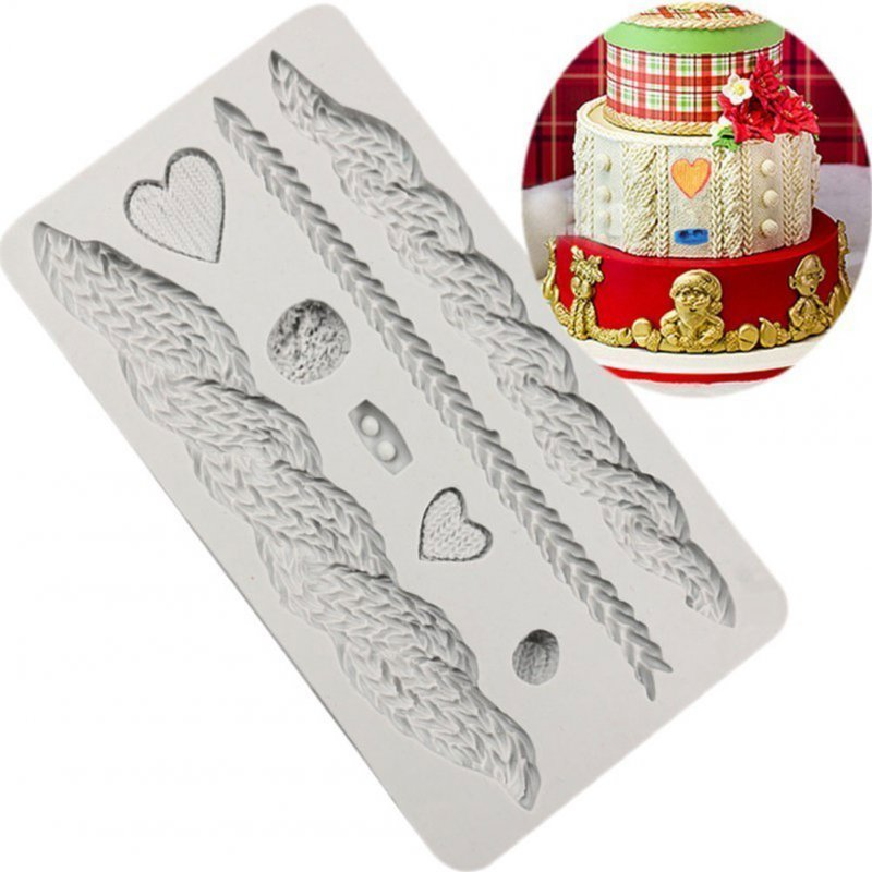 DIY Cable Knit Shape Silicone Mold for Fondant Cake gray