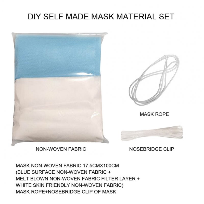 DIY Face Mask Set 3 Layers Non-woven Cloth with Melt Blown Layer Disposable Mask Accessaries As shown_1 set