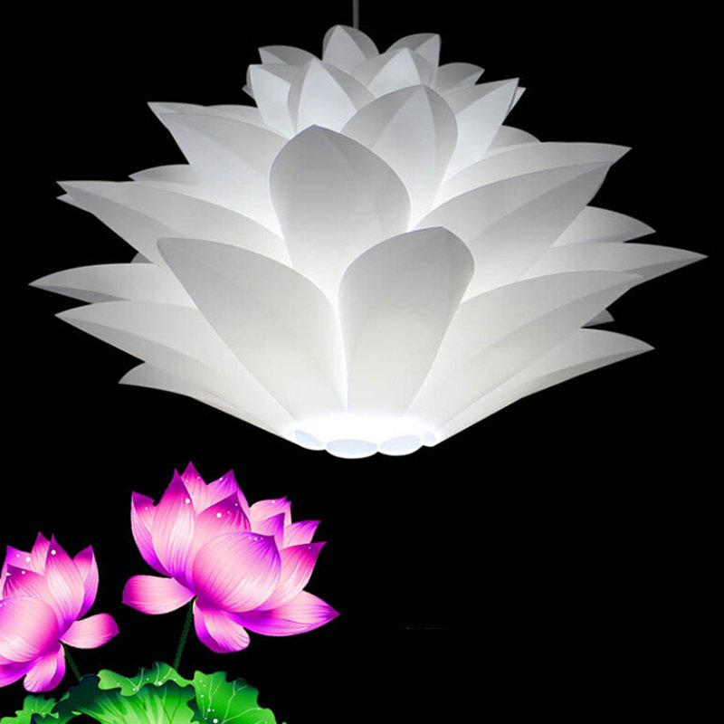 DIY Lotus Chandelier Lampshade Beautiful Decoration Romantic Lighting Cover  white_Single head 45CM