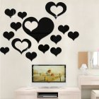 DIY Loving Heart Shape Mirror Surface Acrylic Wall Sticker for Bedroom Living Room Decor M010 black