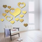 DIY Loving Heart Shape Mirror Surface Acrylic Wall Sticker for Bedroom Living Room Decor M010 gold