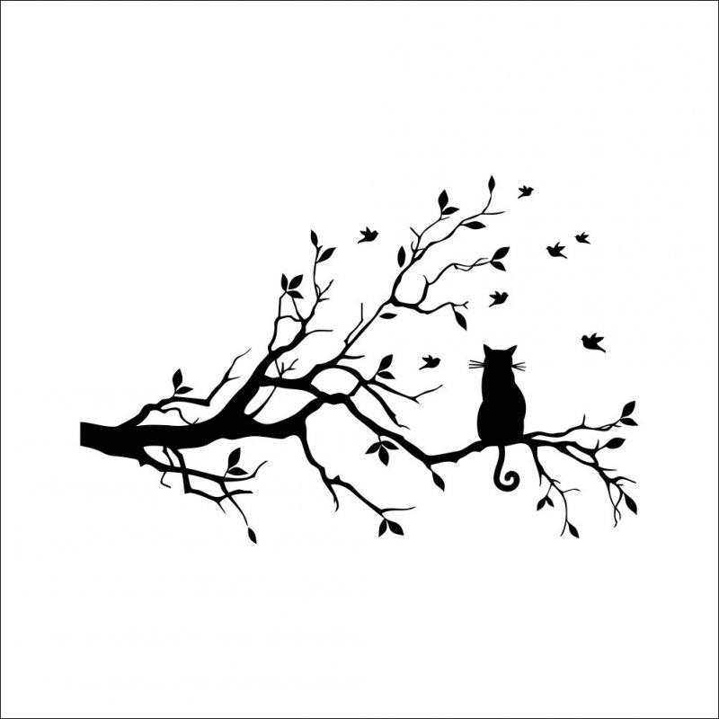 DIY Wall Sticker Removable Cat on Long Tree Branch Wall Decal Art Window Sticker Home Decor 58*38CM