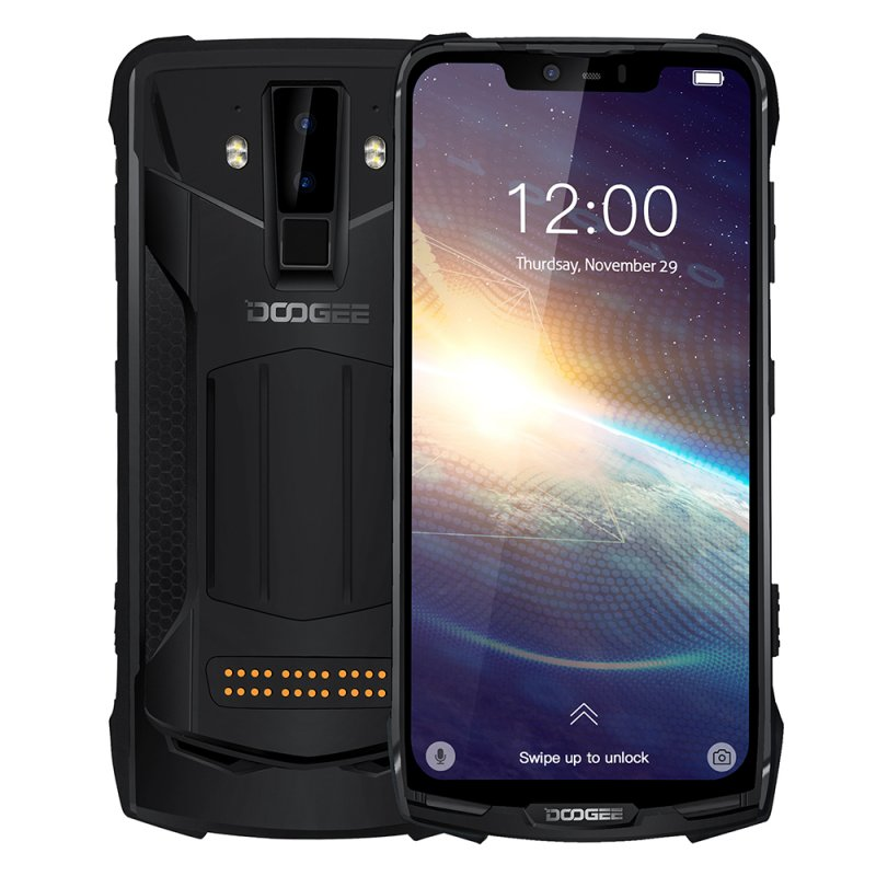 DOOGEE S90 Pro IP68/IP69K Rugged Mobile Phone Android 9.0 Smartphone 6.18'' FHD+ Display Helio P70 Octa Core 6GB 128GB 16MP Cam black_European version