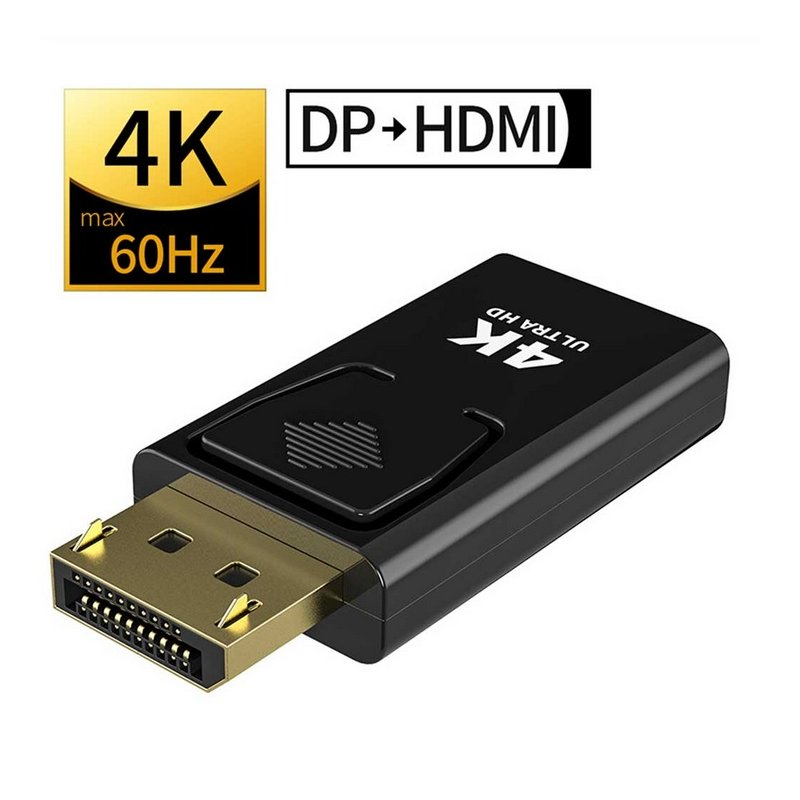 DP To HDMI Max 4K 60Hz Displayport Adapter Male To Female Cable Converter DisplayPort To HDMI Adapter For PC TV Projector black